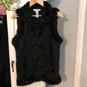 Faux fur and black material vest